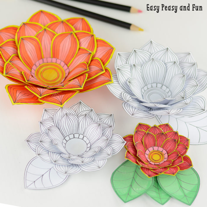 These 3d flower coloring pages are amazing simply inspired for Easy paper crafts for adults